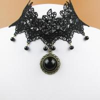 Mode-Halskette, Zinklegierung, mit Spitze & Harz, mit Verlängerungskettchen von 8cm, für Frau, frei von Blei & Kadmium, 10cm, verkauft per ca. 12.5 ZollInch Strang