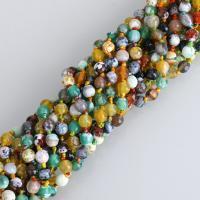 Feuerachat Perle, rund, facettierte, 6mm, Bohrung:ca. 1mm, Länge:ca. 15.5 ZollInch, 10SträngeStrang/Menge, ca. 47PCs/Strang, verkauft von Menge