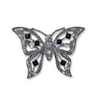 Strass Brosche, Zinklegierung, Schmetterling, antik silberfarben plattiert, für Frau & mit Strass & hohl, 52x36mm, verkauft von PC