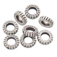 Lagerluft Perlen Schmuck, Zinklegierung, Rondell, antik silberfarben plattiert, ohne troll, frei von Blei & Kadmium, 10x5mm, Bohrung:ca. 4mm, 10PCs/Tasche, verkauft von Tasche
