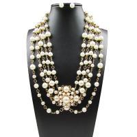 Zinklegierung Schmucksets, Ohrring & Halskette, mit ABS-Kunststoff-Perlen, Edelstahl Stecker, goldfarben plattiert, für Frau, frei von Blei & Kadmium, 6cm,1x1cm, Länge:ca. 21.6 ZollInch, verkauft von setzen