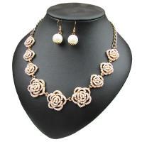 Zinklegierung Schmucksets, Ohrring & Halskette, mit ABS-Kunststoff-Perlen, Eisen Haken, mit Verlängerungskettchen von 8cm, goldfarben plattiert, für Frau, frei von Blei & Kadmium, 3.8x1.5cm, Länge:ca. 19.6 ZollInch, verkauft von setzen