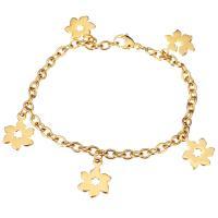 Edelstahl Schmuck Armband, Blume, goldfarben plattiert, Armband  Bettelarmband & Oval-Kette & für Frau, 11x16mm, 4mm, verkauft per ca. 7.5 ZollInch Strang