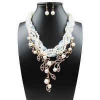 Zinklegierung Schmucksets, Ohrring & Halskette, mit ABS-Kunststoff-Perlen, Eisen Haken, mit Verlängerungskettchen von 6cm, für Frau & mit Strass, keine, frei von Blei & Kadmium, 12cm,3x1cm, Länge:ca. 19.6 ZollInch, verkauft von setzen