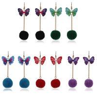 Zinklegierung Ohrringe, Plüsch, mit Stoff & Zinklegierung, Eisen Haken, Schmetterling, für Frau, keine, 95mm, verkauft von Paar