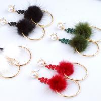Zinklegierung Ohrringe, mit Plüsch & Kunststoff Perlen, goldfarben plattiert, für Frau, frei von Nickel, Blei & Kadmium, 85mm, verkauft von Paar