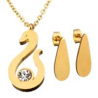 Strass-Schmuck-Sets, Ohrring & Halskette, Edelstahl, goldfarben plattiert, Oval-Kette & für Frau & mit Strass, 12x24mm, 1.5mm, 7x19.5mm, Länge:ca. 18 ZollInch, verkauft von setzen