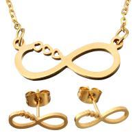 Edelstahl Schmucksets, Ohrring & Halskette, mit Verlängerungskettchen von 2Inch, Unendliche, goldfarben plattiert, Oval-Kette & für Frau, 23x9mm, 1.5mm, 15x5.5mm, Länge:ca. 19 ZollInch, verkauft von setzen