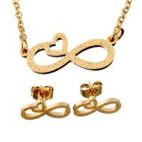 Edelstahl Schmucksets, Ohrring & Halskette, Unendliche, goldfarben plattiert, Oval-Kette & für Frau & Falten, 20.5x8.5mm, 1.5mm, 13.5x6mm, Länge:ca. 20 ZollInch, verkauft von setzen