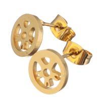 Edelstahl Ohrringe, goldfarben plattiert, für Frau, 10mm, 12PaarePärchen/Menge, verkauft von Menge