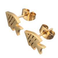 Edelstahl Ohrringe, Fisch, goldfarben plattiert, für Frau, 11x7.50mm, 12PaarePärchen/Menge, verkauft von Menge