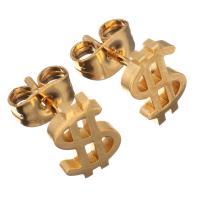 Edelstahl Ohrringe, Dollarzeichen, goldfarben plattiert, für Frau, 6.50x9.50mm, 12PaarePärchen/Menge, verkauft von Menge