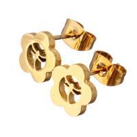 Edelstahl Ohrringe, Blume, goldfarben plattiert, für Frau, 9x8.50mm, 12PaarePärchen/Menge, verkauft von Menge