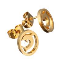 Edelstahl Ohrringe, Dolphin, goldfarben plattiert, für Frau, 8.50x10mm, 12PaarePärchen/Menge, verkauft von Menge