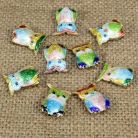 Cloisonne Perlen, Cloisonné, Eule, handgemacht, hohl, keine, 17x15mm, Bohrung:ca. 1.5mm, 10PCs/Tasche, verkauft von Tasche