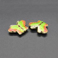 Cloisonne Perlen, Cloisonné, Schmetterling, handgemacht, hohl, keine, 20x15mm, Bohrung:ca. 2mm, 10PCs/Tasche, verkauft von Tasche