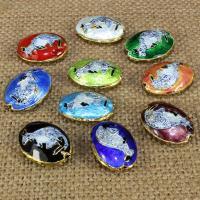 Cloisonne Perlen, Cloisonné, flachoval, handgemacht, keine, 20x14mm, Bohrung:ca. 1.5mm, 10PCs/Tasche, verkauft von Tasche