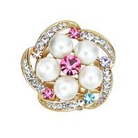 Kunststoffperlenbrosche, Zinklegierung, mit ABS-Kunststoff-Perlen, Blume, goldfarben plattiert, für Frau & mit Strass, frei von Blei & Kadmium, 36x36mm, verkauft von PC