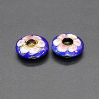 Cloisonne Perlen, Cloisonné, flache Runde, handgemacht, blau, 15mm, Bohrung:ca. 1.5mm, 10PCs/Tasche, verkauft von Tasche