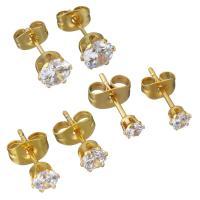 Edelstahl Ohrringe, goldfarben plattiert, verschiedene Größen vorhanden & für Frau & mit Strass, verkauft von Paar