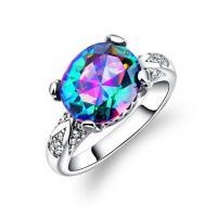 Kristall Fingerring, Zinklegierung, mit Kristall, platiniert, verschiedene Größen vorhanden & für Frau & facettierte, 13mm, verkauft von PC
