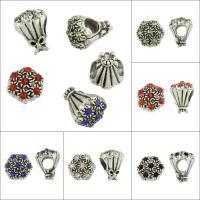 Strass Perlen European Stil, Zinklegierung, Blumenstrauß, antik silberfarben plattiert, ohne troll & mit Strass & großes Loch, keine, frei von Blei & Kadmium, 11x14x11mm, Bohrung:ca. 6,7mm, 50PCs/Tasche, verkauft von Tasche