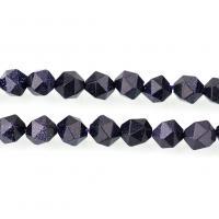blauer Goldsand Perle, natürliche & verschiedene Größen vorhanden & facettierte, Bohrung:ca. 1.3mm, verkauft per ca. 15 ZollInch Strang