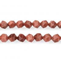 Goldstein Perlen, Goldsand, natürliche & verschiedene Größen vorhanden & facettierte, Bohrung:ca. 1.2mm, verkauft per ca. 15 ZollInch Strang
