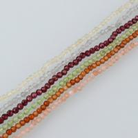Mischedelstein Perlen, Edelstein, natürliche & verschiedenen Materialien für die Wahl & facettierte, 2x2mm, Bohrung:ca. 0.4mm, ca. 175PCs/Strang, verkauft per ca. 15 ZollInch Strang