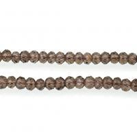 Mischedelstein Perlen, Rauchquarz, natürliche & facettierte, 3x4mm, Bohrung:ca. 0.8mm, ca. 117PCs/Strang, verkauft per ca. 15.5 ZollInch Strang