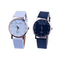 Damen Armbanduhr, PU Leder, mit Glas & Zinklegierung, Rósegold-Farbe plattiert, für Frau & mit Strass, keine, 37x8mm, Länge:ca. 8.5 ZollInch, verkauft von PC