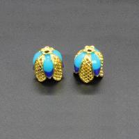 Zinklegierung Perlenkappe, Blume, goldfarben plattiert, Imitation Cloisonne & Emaille, frei von Blei & Kadmium, 14x12mm, Bohrung:ca. 1.5mm, 10PCs/Tasche, verkauft von Tasche