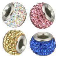 Strass Perlen European Stil, Edelstahl, mit Ton, Trommel, ohne troll, keine, 13x9x13mm, Bohrung:ca. 4.5mm, 5PCs/Menge, verkauft von Menge