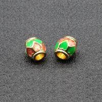 Imitation Cloisonne Zink Legierung Perlen, Zinklegierung, Trommel, goldfarben plattiert, Emaille, keine, frei von Blei & Kadmium, 8x7mm, Bohrung:ca. 3.5mm, 10PCs/Tasche, verkauft von Tasche