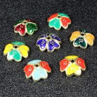Zinklegierung Perlenkappe, Blume, goldfarben plattiert, Imitation Cloisonne & Emaille, keine, frei von Blei & Kadmium, 11.3mm, Bohrung:ca. 1.5mm, 30PCs/Tasche, verkauft von Tasche