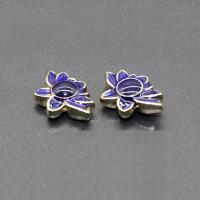 Imitation Cloisonne Zink Legierung Perlen, Zinklegierung, Blume, goldfarben plattiert, Emaille, blau, frei von Blei & Kadmium, 16x11mm, Bohrung:ca. 1.5mm, 10PCs/Tasche, verkauft von Tasche