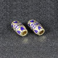 Imitation Cloisonne Zink Legierung Perlen, Zinklegierung, Trommel, goldfarben plattiert, Emaille, keine, frei von Blei & Kadmium, 13x8mm, Bohrung:ca. 3mm, 10PCs/Tasche, verkauft von Tasche