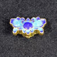 Messing Schmuckperlen, Blume, goldfarben plattiert, Imitation Cloisonne & Emaille, frei von Nickel, Blei & Kadmium, 18x13mm, Bohrung:ca. 1.5mm, 10PCs/Tasche, verkauft von Tasche