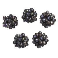 Ball Cluster Zuchtperlen, Natürliche kultivierte Süßwasserperlen, rund, schwarz, 13mm, verkauft von PC