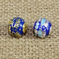 925 Sterling Silber Perlen, rund, plattiert, Imitation Cloisonne & Emaille, keine, 10mm, Bohrung:ca. 1.5mm, verkauft von PC