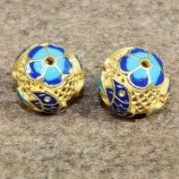 925 Sterling Silber Perle, rund, goldfarben plattiert, Imitation Cloisonne & Emaille & hohl, 16mm, Bohrung:ca. 1.5mm, verkauft von PC