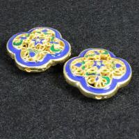925 Sterling Silber Perlen, Blume, goldfarben plattiert, Imitation Cloisonne & Emaille & Doppelloch & hohl, 20x20mm, Bohrung:ca. 1.5mm, verkauft von PC