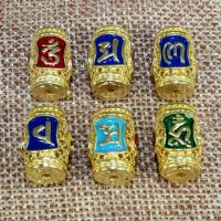 925 Sterling Silber Perlen, Trommel, goldfarben plattiert, Imitation Cloisonne & om mani padme hum & verschiedene Muster für Wahl & Emaille & hohl, 15x10mm, Bohrung:ca. 1.5mm, verkauft von PC