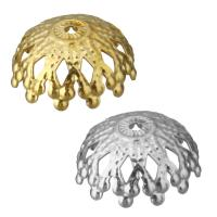 Edelstahl Perle Kappe, Blume, plattiert, hohl, keine, 13x5.50x13mm, Bohrung:ca. 1mm, 100PCs/Menge, verkauft von Menge