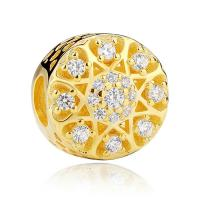 925 Sterling Silber European Perlen, flache Runde, vergoldet, Micro pave Zirkonia & für Frau & ohne troll & hohl, 10mm, verkauft von PC