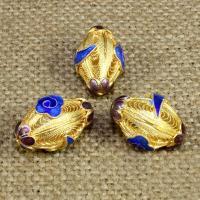 925 Sterling Silber Perlen, oval, goldfarben plattiert, Emaille & hohl, 18x13mm, Bohrung:ca. 1-2mm, verkauft von PC