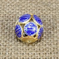 925 Sterling Silber Perlen, rund, goldfarben plattiert, Emaille & hohl, 14mm, Bohrung:ca. 1-2mm, verkauft von PC
