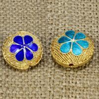 925 Sterling Silber Perlen, flache Runde, goldfarben plattiert, Emaille & hohl, keine, 17mm, Bohrung:ca. 1-2mm, verkauft von PC