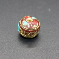 Indonesien Perlen, mit Synthetische Türkis & Messing, Trommel, goldfarben plattiert, 13x11mm, Bohrung:ca. 1-2mm, 10PCs/Tasche, verkauft von Tasche