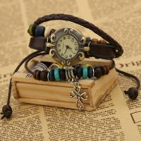 Armbanduhr, mit PU Leder & Holz & Zinklegierung, unisex & einstellbar & 3-Strang, 170mm, Länge:ca. 6.5 ZollInch